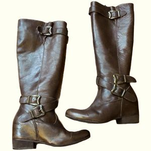 Miz Mooz West Buckle Leather Riding Boots, sz6.5